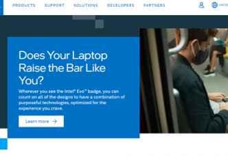 Intel website screenshot 500 by 300